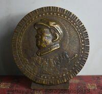 12CM Vieux Chine Chine Bronze Statue de Mao Zedong Tête Sculpture