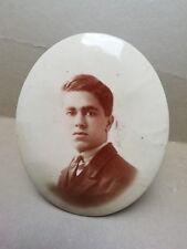 ancien cadre photo 1900 en glaçoïde portrait de jeune homme