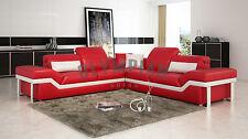 Designer Modern Large Red LEATHER SOFA Corner Suite New White Unique Stylish