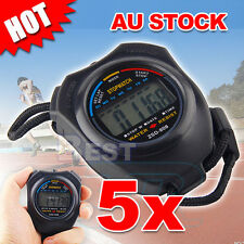 5x Digital LCD Stopwatch Counter Timer Stop Watch Handheld Chronograph Sports
