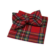 Traditional Red Royal Stewart Tartan Pattern Bow Tie & Hanky Set - 100% Cotton