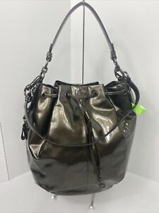 Coach Bag Marielle Drawstring Large Pewter Gray Patent Leather  18820 B2C