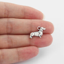 20Pcs Antique Silver Tiny Dachshund Hound Dog 22 mm Charms Pendants Beads