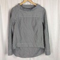J CREW women's Funnel Neck high low Shirt Blue Stripe size 4