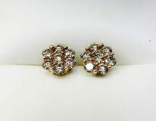 Light Brown .84 CTW Diamond Flower Cluster Stud Earrings Solid 10k Yellow Gold
