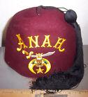 ANAH Shriners felt FEZ Hat, Mason Pharaoh Crescent Scimitar Masonic, w tassel
