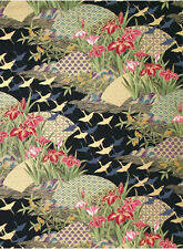 Asian Dreamscape - Black/Gold Metallic Asian Japanese Quilt Fabric (1 Yd.)