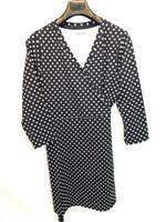 Lands End XL 18 Black White Polka Dot Wrap Dress Tie Waist 3/4 Sleeve Nylon Knit