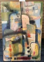 Large Vintage Abstract Oil Painting Mid Century Modern Art Wall Hanging Signed
