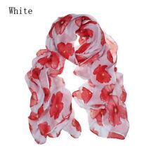 Rojo Impresión Flores Larga Bufanda Playa Mujeres Estola Mantón pañuelos