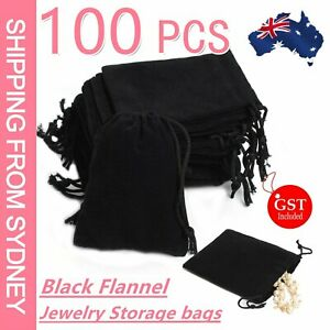100PCS Velvet Drawstring Black Jewelry Storage Safety Case Gift Bags Pouches AU