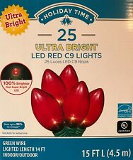 """25 Holiday Time """"Ultra Bright"""" Red C9 LED String Lights - """"96% Energy Savings"""""""