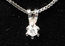 Solid 18K White Gold Ladies woman Solitaire Diamond pendant 0.05ct 18 k 0.5 g