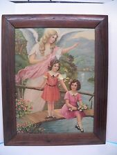 Antique Victorian Early 1900's Angel & Little Girls Picture Great Frame