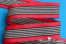 "5 yards 1 1/2"" Pink Black White Stripes Zebra Woven Grosgrain Ribbon"