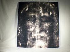 Shroud of Turin Full Size Face Negative on Linen Cloth 3 x 3 feet Wood Framed