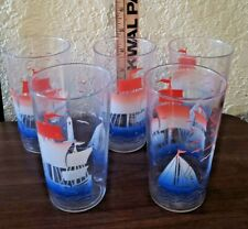5 VINTAGE SAILBOAT BOAT SHIP NAUTICAL DRINKING WATER COCKTAIL GLASSES LOT SET