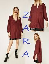 ZARA Checked Tunic Red Black Hi-Lo Hem 3/4 Sleeve Front Pleat Pockets New Top L