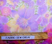 """Vintage Semi-Sheer Silky Blended FLORAL Pink Lilac Yellow Green 46""""W x 36"""" L   Z"""