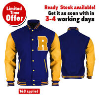 Riverdale KJ Apa R Logo Archie Bomber Varsity Letterman Blue Yellow Wool Jacket