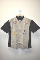 NEW FTP F#%K THE POPULATION MENS TAN AND BLACK RACING SHIRT XXL PATCH WORK RARE