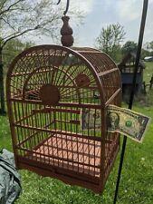 Vintage Asian Bamboo Bird Cage Tray Slides Indiana Farm Nice b/b