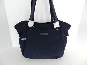 Vera Bradley Glenna Satchel Handbag Purse In Microfiber Classic Navy