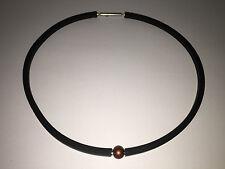 Nuevo - Collar Necklace SEDISTRI - Caucho + Bola Marrón Aluminio - Caoutchouc