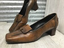 Sergio Zelcer Spanish Leather Collection Slip-On Brown Moc Toe Chunky Heel Sz 6