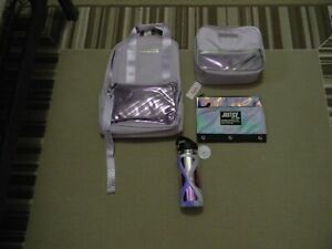 NWT JUSTICE GIRLS LILAC STRIPE BACKPACK LUNCH TOTE PENCIL CASE WATER BOTTLE
