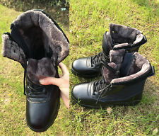Mens Womens Outdoor Tactical Leather Boots Warm Fleece Lined Combat SWAT Shoes
