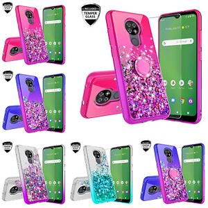 Cricket Ovation Case/AT&T Radiant Max Liquid Glitter Ring Stand Phone Case Cover
