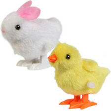 New 2pc Plush Doll Gift Infant Child Toys Hopping Wind Up Easter Chick and Bunny