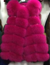 Women's Warm Gilet Outwear Long Slim Vest Faux Fox Fur Waistcoat Jacket Coat