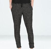 Pantalon style jogging noir maille noir argent taille élastiquée ZARA taille M