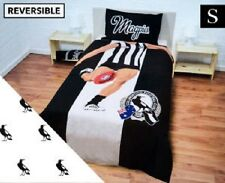 SINGLE BED AFL COLLINGWOOD MAGPIES REVERSIBLE QUILT DOONA COVER + PILLOWCASE!