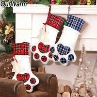 Plaid Christmas Stocking New Year Gift Bag for Pet Dog Cat Xmas Tree Ornaments