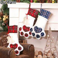 Pet Christmas Stocking Dog Cat Paw Stocking Gift Bag Hanging Xmas New Year Decor