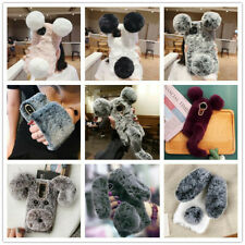 Soft Warm Fluffy Faux Fur Diamond Love Case Comfy Furry Phone Cover For Samsung