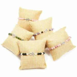 """12 Pack 3 x 3"""" Bracelet Display Linen Pillow Beige for Jewelry Watch Bangle"""