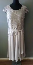 WOMENS DRESSES SIZE 12 JACQUES VERT LADIES LACE GREY MOTHER OF THE BRIDE WEDDING