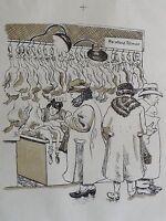 Margarethe Höchst signiert  - Litho um 1930: KUNDEN BEIM GEFLÜGEL-SCHLACHTER