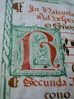 ANCIENT HANDWRITTEN MANUSCRIPT Illuminated VELLUM Antiphonal MUSIC Latin RARE