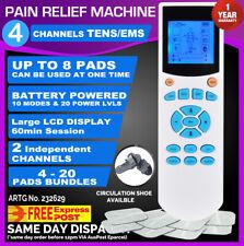 4 Channels TENS Machine Massager Pain Relief Unit LCD w/Extra Pads BUNDLES EMS