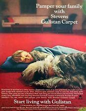 1967 Old English Sheep Dog & Boy Sleeping on Carpet photo Gulistan print ad