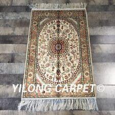 Yilong 2'x3' Oriental Handmade Medallion Silk Carpet Classic Handcraft Rug W286C