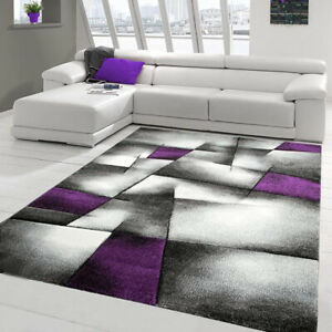 Purple and Silver Rug Geometric Pattern Elegant Hall Carpet Thick Small Large XL
