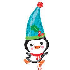 Adorable Pingouin Forme Noël Ballon Film en Aluminium Décoration pour Fête