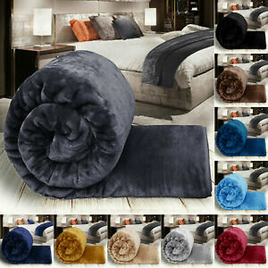 Faux Fur Roll Mink Throw Sofa Bed Warm Single Double & King Bed Mink Throw