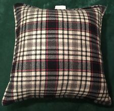 "MULTIPLE RALPH LAUREN 26"" Square Pillow Wool Plaid Floor Black Red Feather fill"